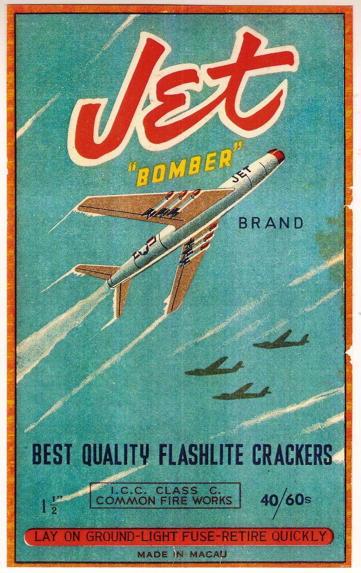 vintage firecracker labels | JET BOMBER Brand CL3 40/60s Brick Label Repro,  PYRO