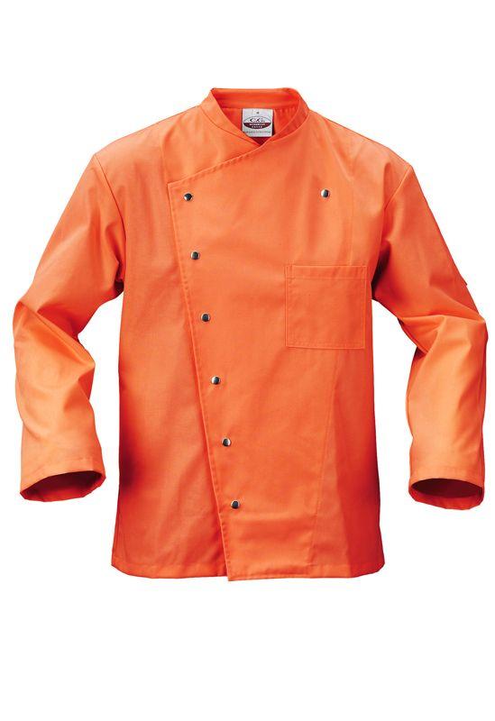 Herren Kochjacke Cambridge in Orange mit geradem Schnitt, einer Druckknopfleiste und je einer praktischen Brust- und Ärmeltasche. Die Ärmel können aufgekrempelt und mit einer Lasche und einem Druckknopf fixiert werden. Für mehr Bewegungsfreiheit sorgt eine Rückenfalte. Das Material besteht aus einem hochveredeltem Mischgewebe und bringt exzellente Trage- und Pflegeeigenschaften mit.