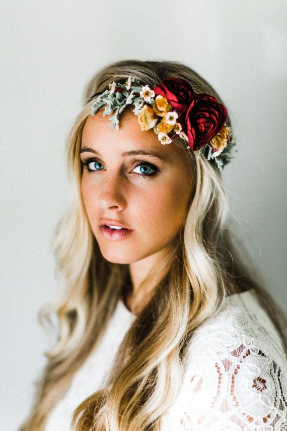 Rustic Maroon, Blush + Gold Fall Flower Crown