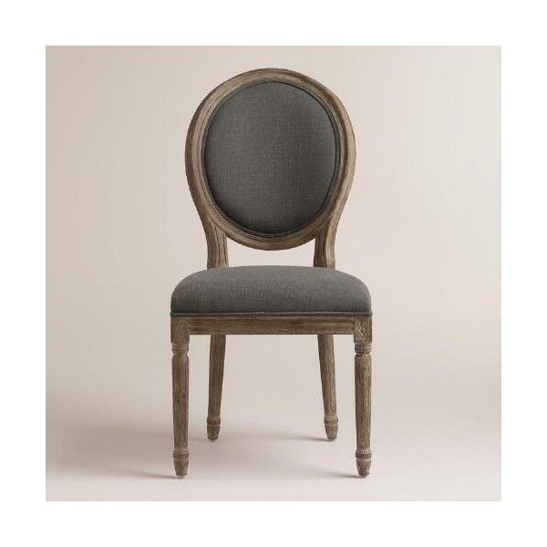 Cost Plus World Market Charcoal Linen Paige Round-Back Dining Chairs ($320) via…