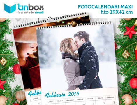 Inizia il nuovo anno con le fotografie più belle! Per te 1, 2 o 3 maxi calendari personalizzati da 12 mesi più copertina, in formato A3 rilegato a spirale. Un ricordo ogni mese!
