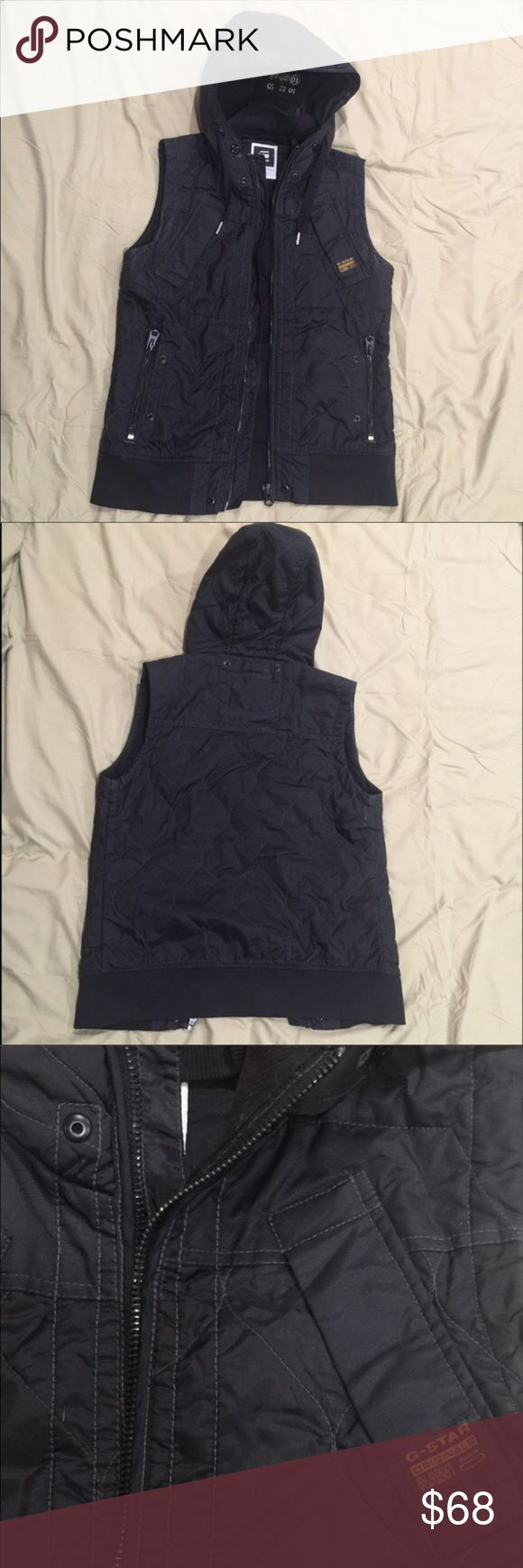Men's small G-Star raw hooded winter vest G-star raw men's hooded puffy winter vest in great condition. The hood has an inner layer for warmth that can be buttoned and zipped off. There are four pockets on the front and a zipper down the middle. All buttons and zippers fully function. G-Star Jackets & Coats Vests