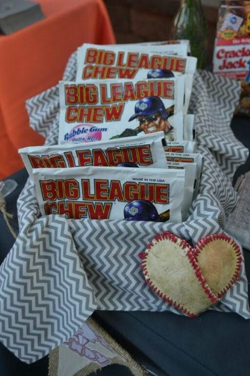 Vintage Baseball baby shower.....Big League Chew and Baseball Hearts