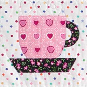 ~ Teacup ~ FREE Fusible Appliqué Tea Cup Quilt Block Pattern: a small one would be cute on a mug rug, with a bit of lace sewn under the saucer as a tablecloth. xxx