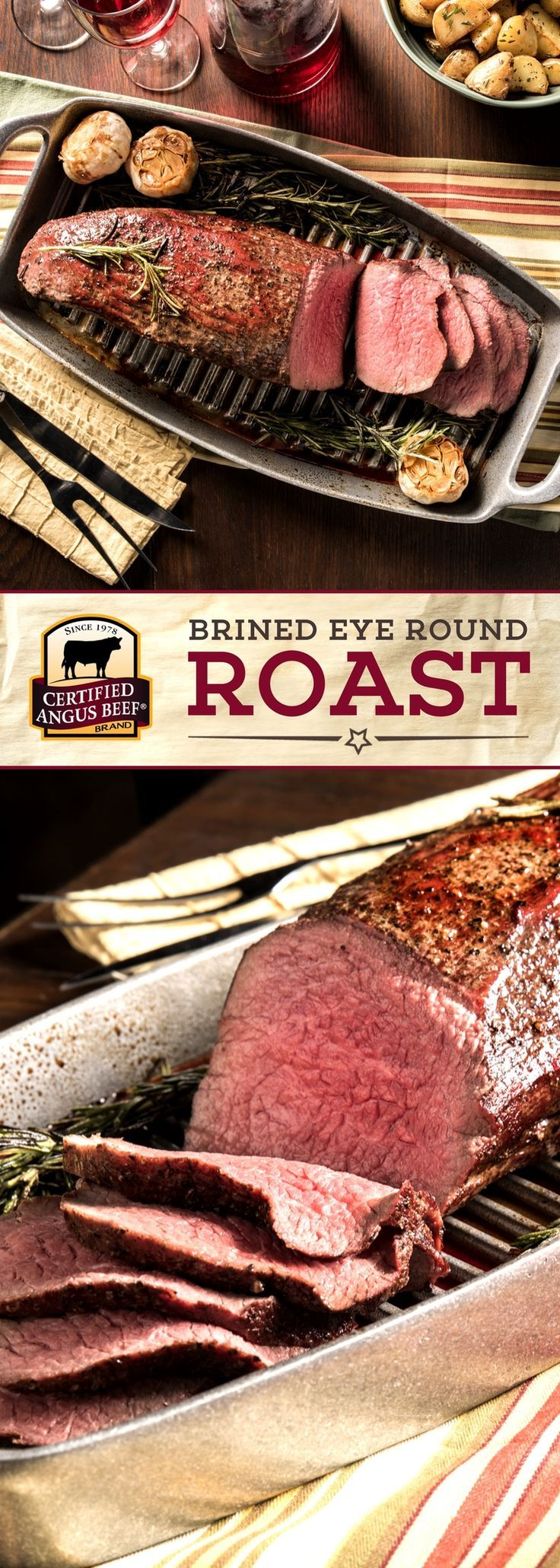 Certified Angus Beef®️️️️️️️️️️️️️️️️ brand Brined Eye of Round is an IMPRESSIVE roast on a budget! The secret is in the brine. It helps flavor the beef as well as tenderize. Our special holiday brine imparts classic Christmas flavors, but we enjoy this economical roast year round! Use our FREE Roast Perfect App for successful roasting EVERY TIME! #bestangusbeef #certifiedangusbeef #roastperfect #roastrecipe #beefrecipe #budgetfriendly