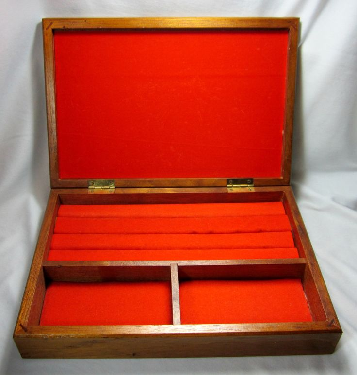 Wood and Black Leather Dante Jewelry Chest Mens Jewelry Stash Box Orange Lining by GoshenPickers on Etsy