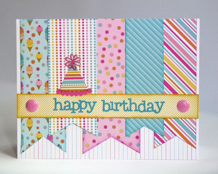 Doodlebug Design Inc. Sugar Shoppe Banner Party Hat Birthday Card for Kids & Teen Girls by Mendi Yoshikawa