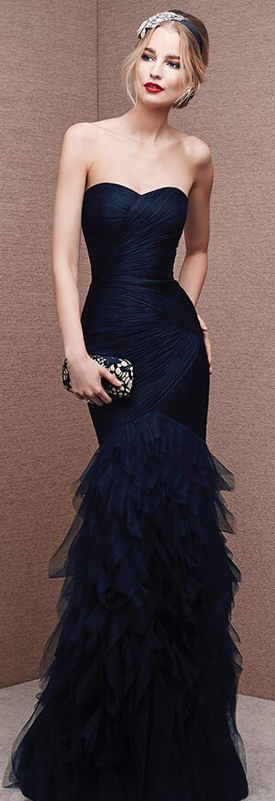 Navy Blue Prom Dress,Pretty Prom Dresses,Tulle Bridesmaid Gown,Simple