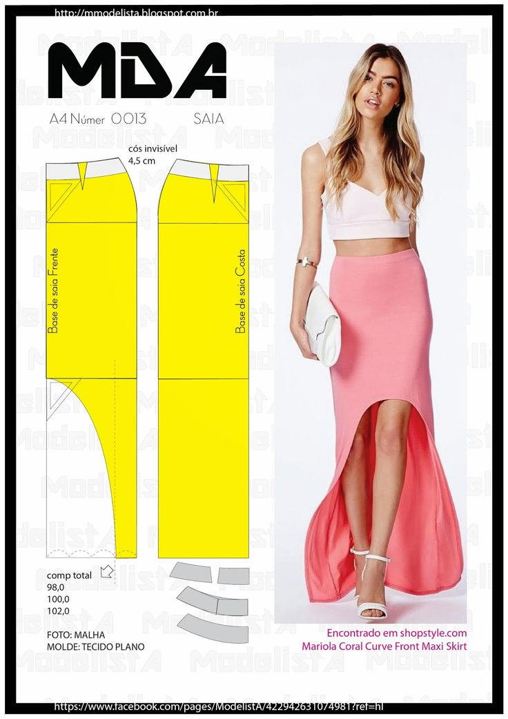 Low and high skirt, pattern instructions