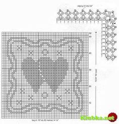 Салфетки с сердечками в филейной технике » Клубка.Нет - Все о вязании крючком