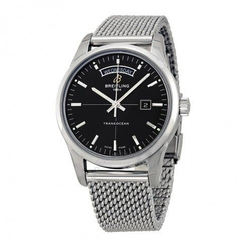 Breitling Transocean Day & Date Automatic Black Dial Stainless Steel Men's Watch A4531012-BB69SS - Transocean - Breitling - Watches  - Jomashop Sale! Up to 75% OFF! Shop at Stylizio for women's and men's designer handbags, luxury sunglasses, watches, jewelry, purses, wallets, clothes, underwear & more!