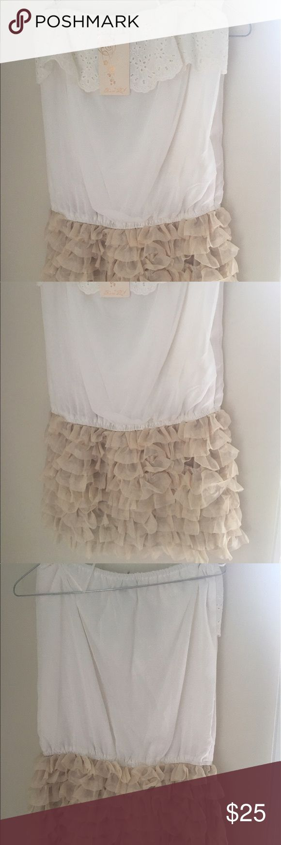 """🌹Princess LEA ivory ruffle dress🌹 Brand new with tags. no since of wear and no rips or stains. 100% polyester. Top to hem is 24"""" Dresses Midi"""