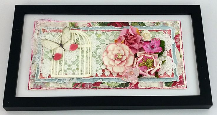 Small Framed Art featuring Paper, Flowers and Lace by SillySalCreates on Etsy