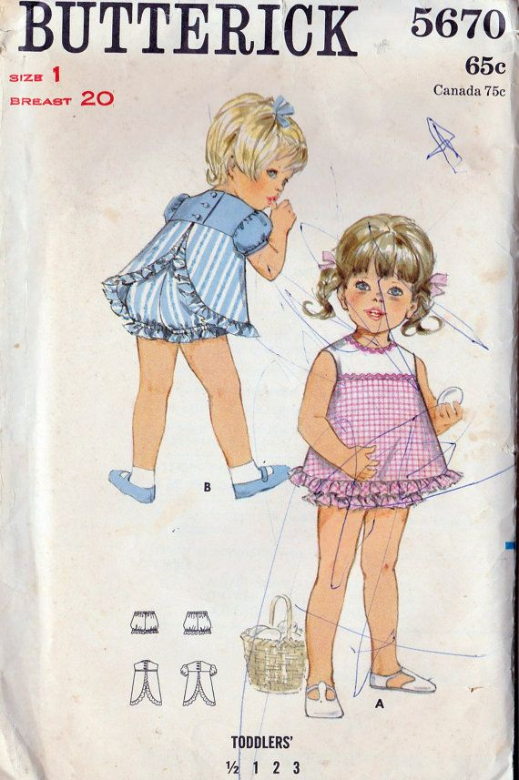1960s Girls Toddlers Summer Dress and Bloomers