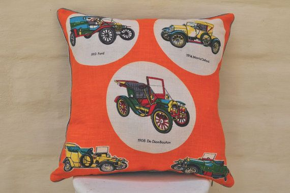 Vintage cars for the boys.    Made with a vintage Irish linen tea towel, new unused condition. I have given it one wash to pre-shrink the