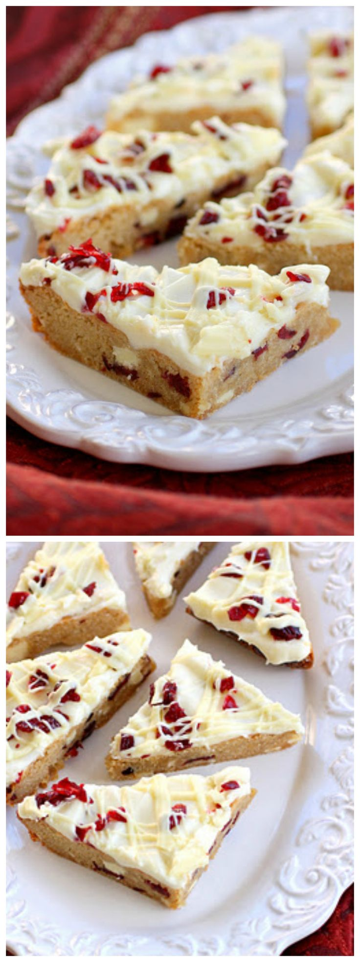 Cranberry Bliss Bars - a knockoff of the Starbuck's treat. A blondie dotted with white chocolate and cranberries with a slight hint of orange.