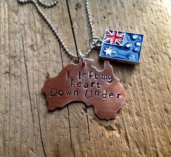 Australia Australian necklace flag custom Personalized by tagsoup, $16.00