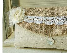 burlap lace wedding, set of 7, bridesmaid clutch, rustic wedding, Bags and purses Personalized Bridesmaid Gift Bridesmaid Clutch burlap lace