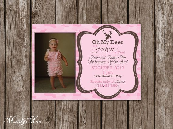 Pink Camo Birthday Invitation Pink Deer by MaxandMaeInvites