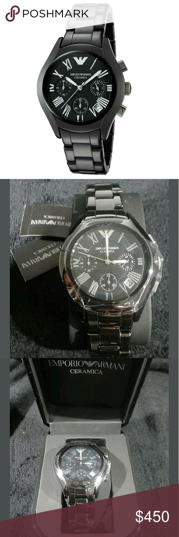 NWT Emporio Armani Ceramic Chronograph watch EMPORIO ARMANI  Emporio Black Ceramic Chronograph Ladies Watch.   FIRM PRICE FIRM PRICE FIRM PRICE  $450.00 . AUTHENTIC WATCH  . AUTHENTIC BOX  . AUTHENTIC MANUAL    SHIPPING  PLEASE ALLOW FEW BUSINESS DAYS FOR ME TO SHIPPED IT OFF.I HAVE TO GET IT FROM MY WAREHOUSE.    THANK YOU FOR YOUR UNDERSTANDING. emporio Armani  Accessories Watches