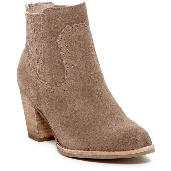Dolce Vita Jari Chelsea Bootie ($80) ❤ liked on Polyvore featuring shoes, boots, ankle booties, dk taupe suede, short boots, suede ankle booties, taupe suede boots, taupe suede booties and high heel ankle boots