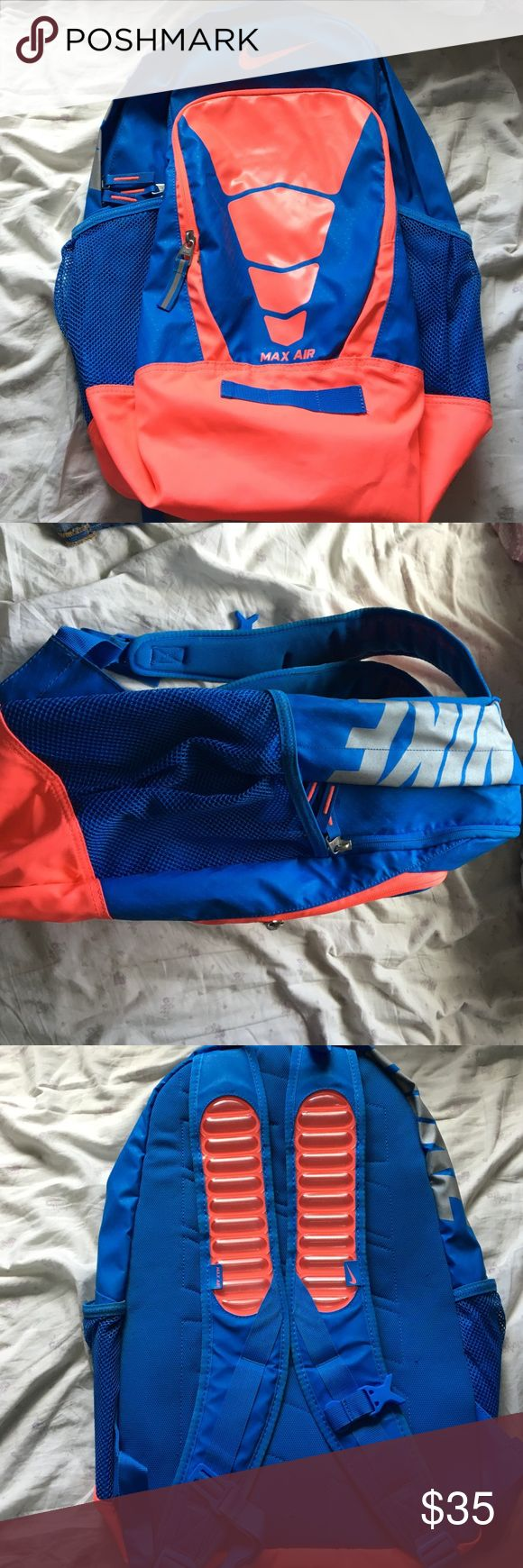Nike Vapor Air Max Backpack- HyperPunch/Blue Unique backpack. Spacious. Laptop sleeve. Air max on the straps. Once been used a handful of times. Like new condition! Nike Bags Backpacks