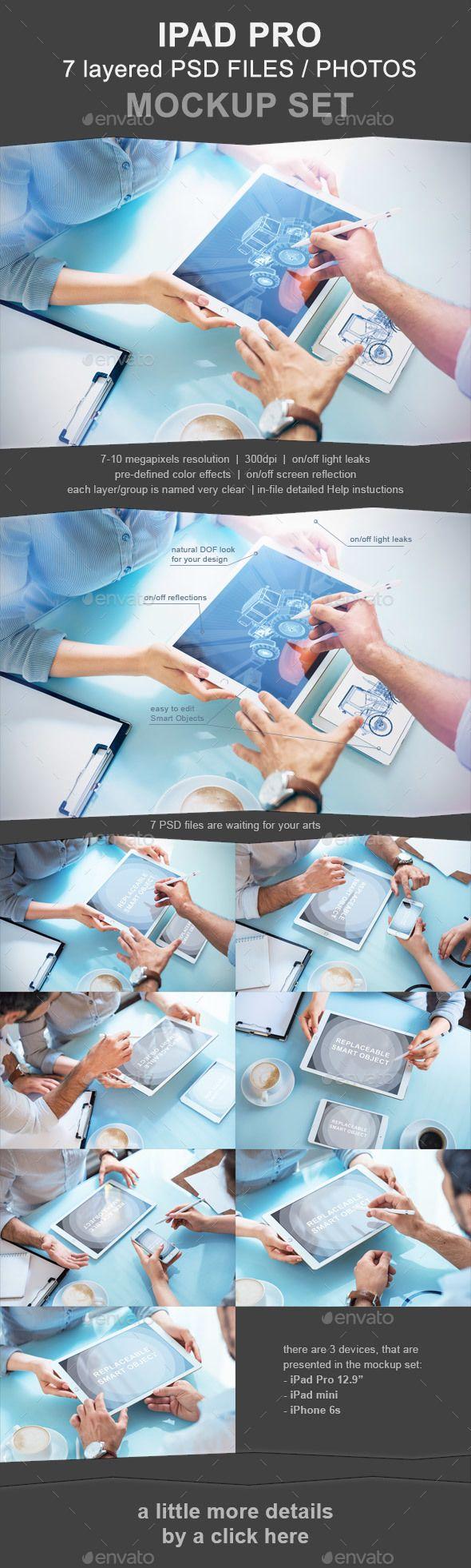 iPad Pro #Photo #Mockup Set - 7 PSD - Mobile Displays Download here: https://graphicriver.net/item/ipad-pro-photo-mockup-set-7-psd/19692975?ref=alena994
