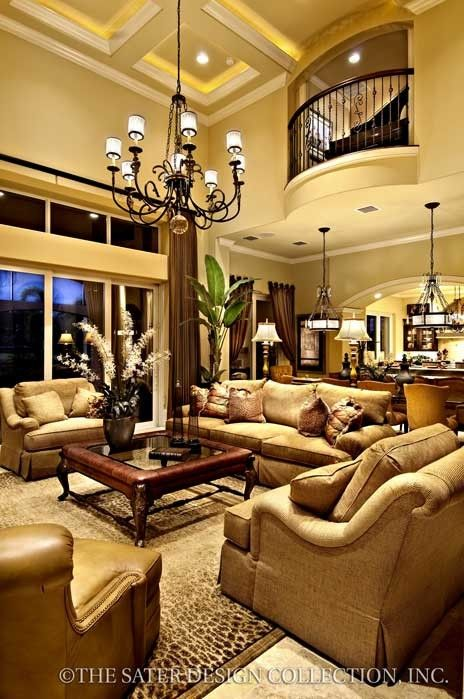 Gabriella Home Plan. Love this decor. Lights above table, archway to kitchen, windows, colors....