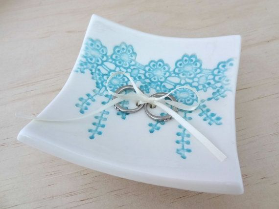 Porcelain ring dish with turquoise lace: www.springwoodporcelain.etsy.com
