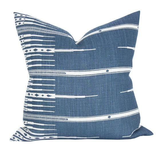 This listing is for one Tangiers Indigo/Natural pillow cover with linen backing. DESCRIPTIONFabric made by: Peter Dunham TextilesPillow made by: Spark ModernCol