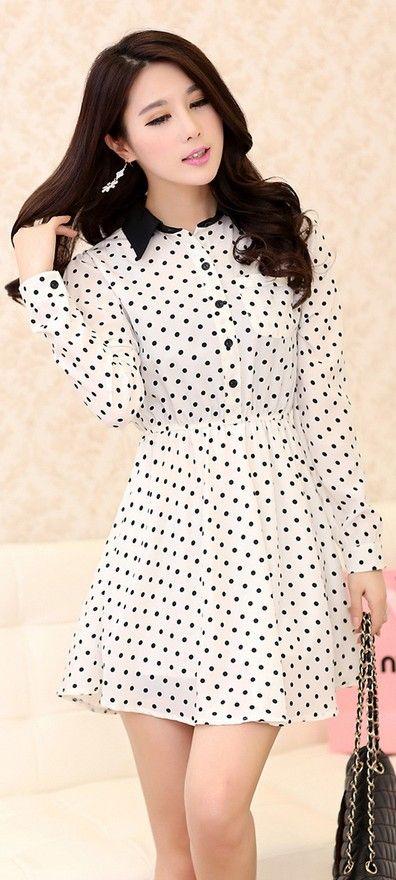 Korean chiffon long sleeve lapel dots printed mini dress ghl3434