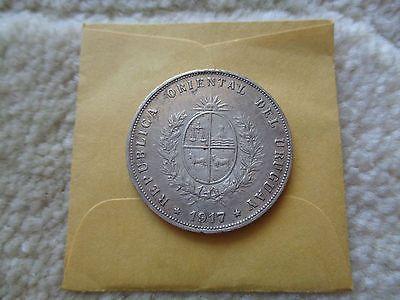 1917 Уругвай 50 сентимос серебряная монета лучше сорта