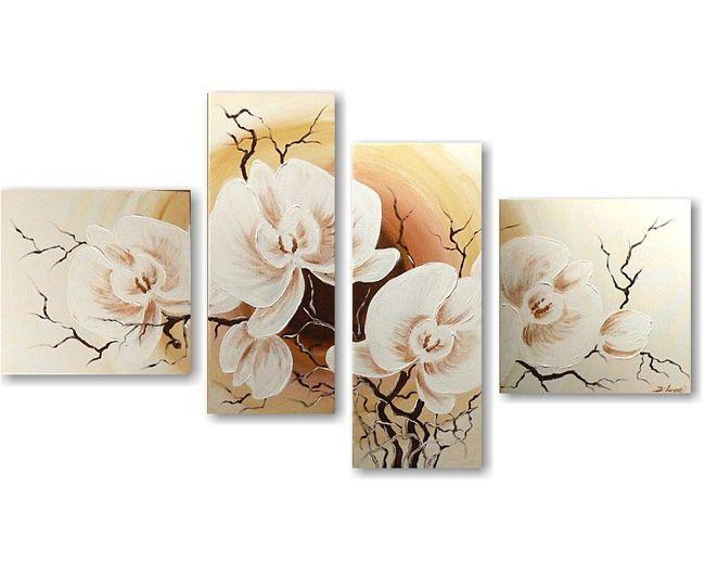Een schilderij met een witte orchidee is altijd mooi als wanddecoratie in de woonkamer