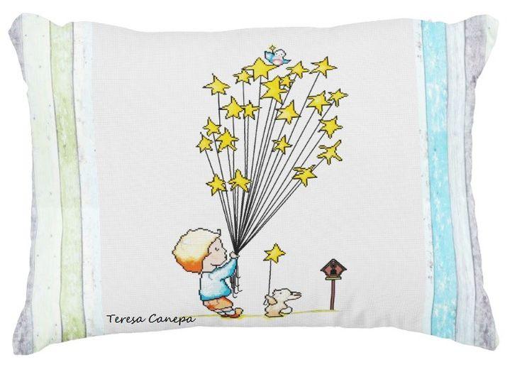 ✄ PATRON PUNTO CRUZ  Cojin Decorativo con diseño Estrellas,  http://puntocruzandino.weebly.com/