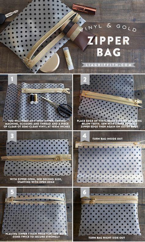 DIY vinyl and gold zipper make up bag