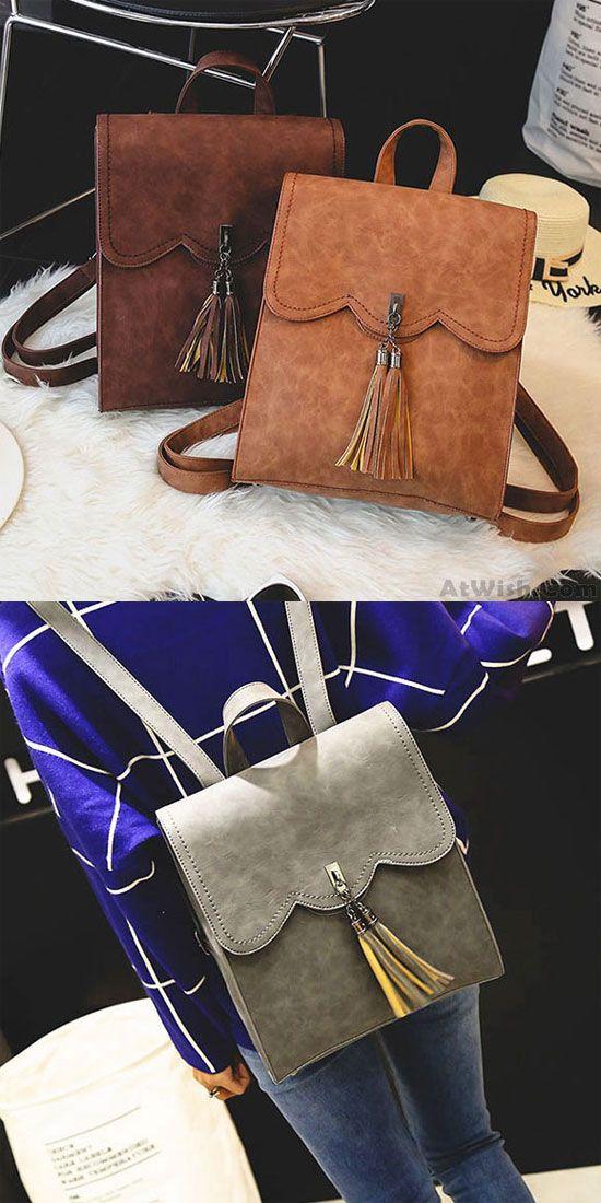 Retro Simple PU Tassels Women Student Backpack School Bag for big sale! #retro #pu #backpack #Bag #women #tassel