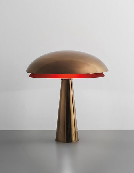 brass and red glass table lamp by Fontana Arte, 1960s
