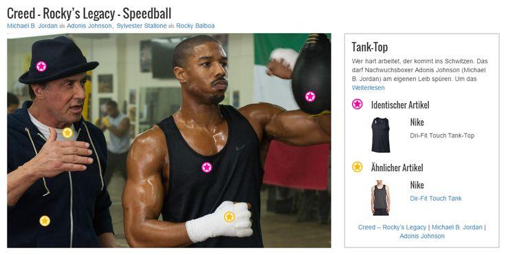 Wer hart arbeitet, der kommt ins Schwitzen. Das darf Nachwuchsboxer Adonis Johnson (Michael B. Jordan) am eigenen Leib spüren. Um das Training so angenehm wie möglich zu gestalten, setzt der junge Sportler daher auf funktionale und atmungsaktive Kleidung. Hier trägt er das schwarze DRI-FIT TOUCH Funktions-Tank von Nike.