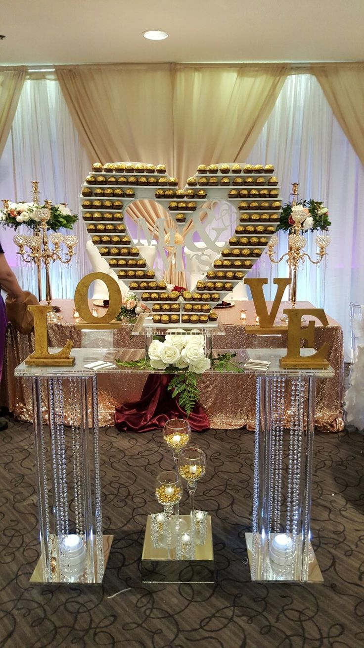 Ferraro Roche heart of chocolates.  BY sherrys DIY event decor and rentals