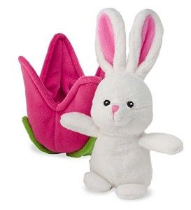 Spring Blossom Plush Pet- Bunny Plush pet tucked in a tulip. http://awsomegadgetsandtoysforgirlsandboys.com/easter-gifts-for-baby/ Easter Gifts For Baby: Spring Blossom Plush Pet- Bunny