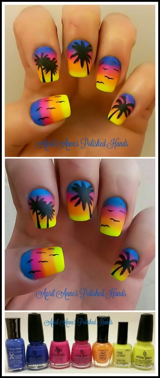aprilannespolishedhands: Day 41 of Gnarly Gnails Neverending Pile Challenge - Dupes match an untried with a tried. I matched 3 including Pacific Blue the old better version with the better formula n better colour. I fell in live with sunset palm tree silhouette nails the very second I layed eyes on them, however, they were so over done I vowed Id never do them. LIES! I couldnt help it I had too and I'm VERY GLAD I DID! Untrieds used: 2. An InLinkz Link-up
