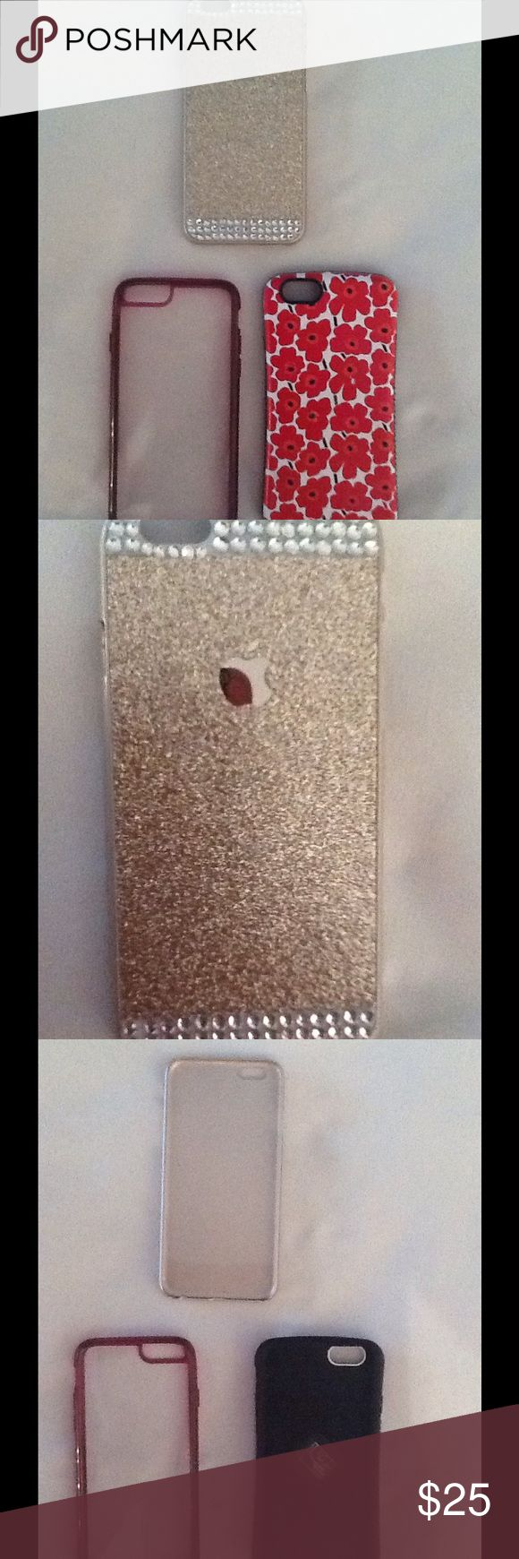 Iphone6 set of three phone cases. Each are one piece slip on style.  The flowery one is impact resistant, similar to Otterbox but less bulky.   The gold glittery one has never been used and is gorgeous.  The clear one was used the most but is still in good shape. Accessories Phone Cases