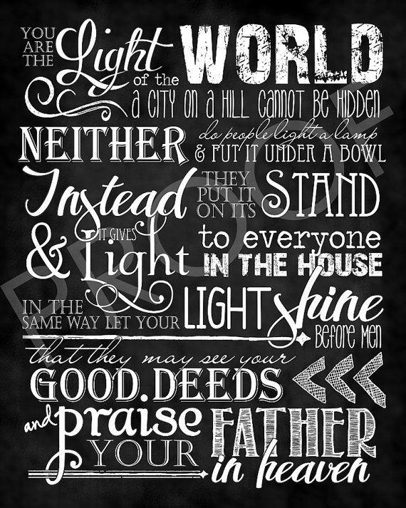 Scripture Art  Matthew 5:14-16  Chalkboard by ToSuchAsTheseDesigns