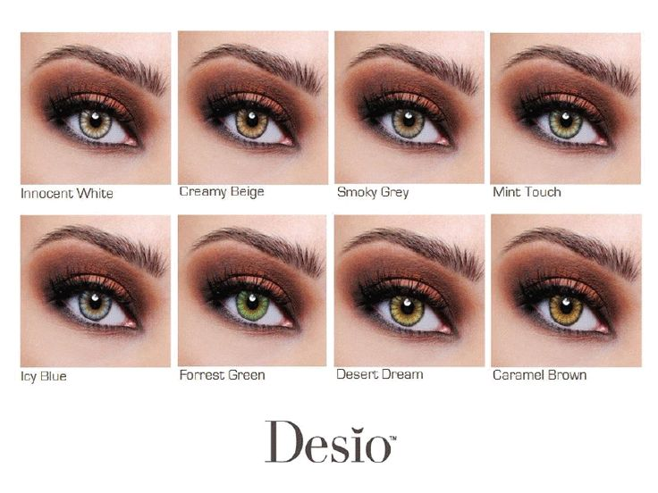 DESIO color contacts chart | Contacts specifically made to enhance dark brown eyes.