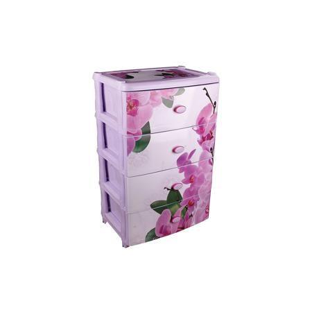 """Alternativa Комод широкий """"Орхидеи"""" 4-х секц. , Alternativa  — 2449р.  Характеристики:  • Предназначение: для кухни, ванной, спальни, прихожей • Пол: универсальный • Материал: пластик • Цвет: оттенки сиреневого, розовый • Размер (Д*Ш*В):  42,5*56*90,5 см • Вес: 6 кг 200 г • Количество секций: 4 шт. • Тип ящиков: выдвижные, с ручками • В комплекте имеется инструкция по сборке • Форма: прямоугольный • Особенности ухода: разрешается мыть теплой водой  Комод широкий """"Орхидеи"""" 4-х секционный…"""