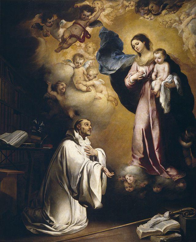 """""""Aparição da Virgem Maria a São Bernardo"""" (Bernardo, de Claraval). {1655} (by Bartolomé Esteban Murillo)."""