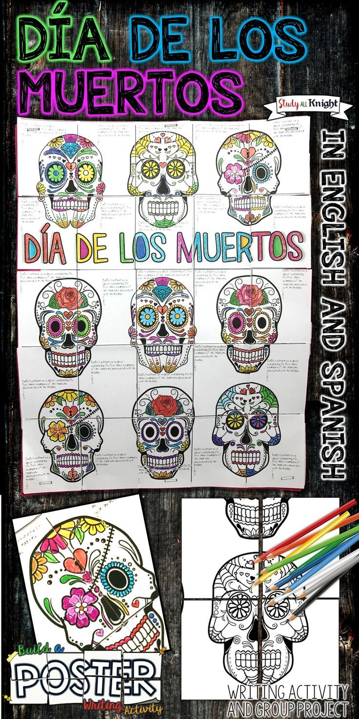 Teacher | English | Spanish | Middle School | Grades 4,5,6 | Dia de los Muertos or Day of the Dead is one of the most popular holidays in Mexico and has quickly become popular in other parts of the world. Dia de los Muertos is on November 1 and November 2. This writing activity and collaborative poster focuses on Mexican cultural traditions and features sugar skulls -both offered in English and Spanish!