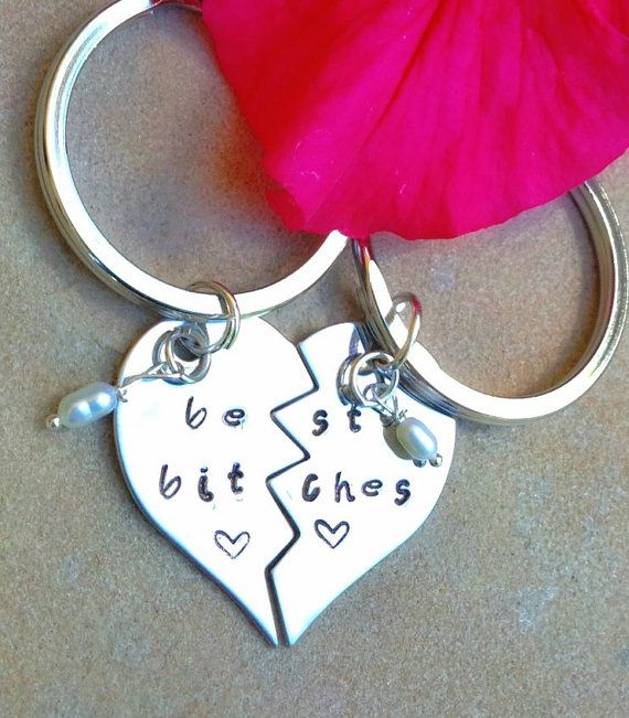 best bitches, broken heart key chain, personalized key chain, bridal gifts, maid of honor gift, brides maid gifts, best bitch on Etsy, 19,57€ hahaha @Katherine Du Bois- Sargent