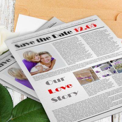 Keine Lust auf klassische Save-the-date-Karten? Dann gestalte doch eine Save-the-Date-Zeitung und verschick diese an Deine Hochzeitsgäste!