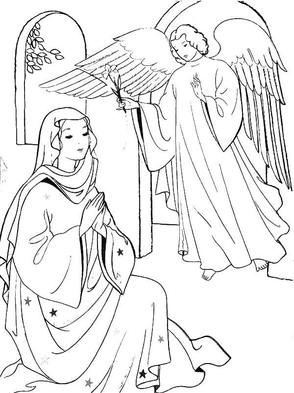 Angel Visits Mary Coloring Pages Jesus Coloring Pages Nativity Coloring Pages Angel Coloring Pages